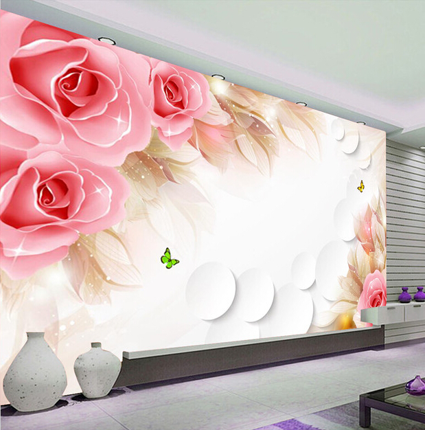 Custom 3D wallpaper, pink rose and butterfly mural for the living room bedroom TV background wall vinyl papel de parede<br>