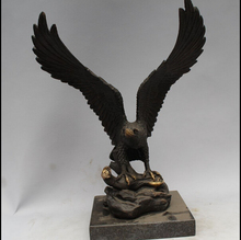 Western Art Copper Bronze Eagle Hawk Bird Figurine Sculpture Marble Base Statue