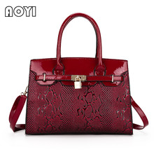 AOYI Women Luxury Patent Leather Handbag Famous Designer Serpentine Decor Large Capacity Ladies Shoulder Crossbody Bag Handbags
