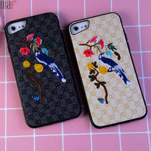 Olaf Luxury Handmade Embroidery Birds Case For iPhone 6 6S 7 lovely soft  Warm Back Cover For iPhone 7 6 6S Plus  shockproof