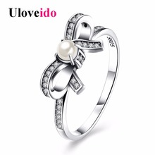 Uloveido Bow Tie Rings for Women Silver 925 Jewelry Ring with Stone Cubic Zirconia Charms Bagues Femme with Box 40% Off SVR171