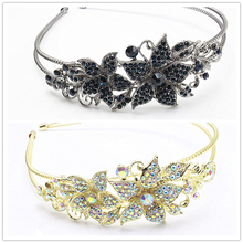 1pc Fashion Bridal Headband Rhinestone Hair Band Jewelry Crystal Flower Rubber Band Wedding tiara Accessories F437-2