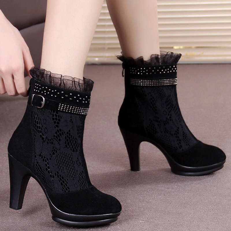 Fashion Elegant Black Suede Stitching Lace Round Toe Thick High Heels Ankle Boots Belt Buckle Big Size 40 Women Booties Shoes<br><br>Aliexpress