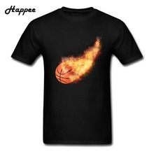 Men's Tee Shirts Flaming Basket Ball Clothing Men's 100% Cotton XS-XXXL Tee Shirts For {Men Exercise Tee Shirts Tops(China)