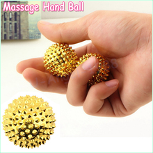 Hot Selling 2x Gold Hand and Body Acupressure ball Magnetic Hand Palm Massage Ball Needle Massage (1 pair)(China)