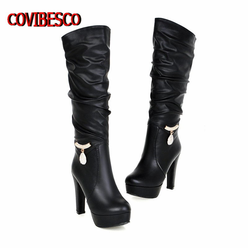 Plus Size 34-43 New Spring Autumn Knee High Boots Women Motorcycle Boots High Heels Soft Leather knight Shoes female long boots<br><br>Aliexpress