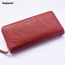 Genuine Leather Wallet Long Zipper Wallet Unisex Cow Leather Purse Clutch Wallet Solid Fashion Women Coin Wallets(China)