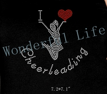 "Free gift & free shipping hotfix Rhinestone transfer  motif Rhinestone Iron On Transfer ""I Love Cheerleading"""