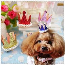 20pcs dog pet hair cute crown design dog  centure of large rhinestone clip dog hair With Pearl shiny  pet grooming product  gift
