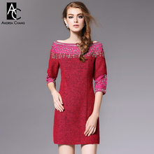 autumn winter runway designer womens dresses purple pink red wool dress beading collar high quality fashion vintage brand dress(China)