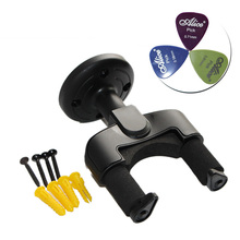 2 Pieces Strong Bearing Bass Guitar Stand Bracket Neck Hanger Hook Holde Rack Black Guitar Accessories With 3 Free Guitar Picks