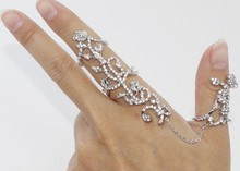 New Women Gold Sliver Rings Bling Crystals Flower Armour Rings Charming Double Full Finger Ring Kuckle Ring