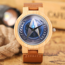 Casual Wooden Watch Fashion Movie Theme Star Trek Bamboo Clock Men Genuine Leather Band Sport Boys Minimalism saat erkekler 2017(China)