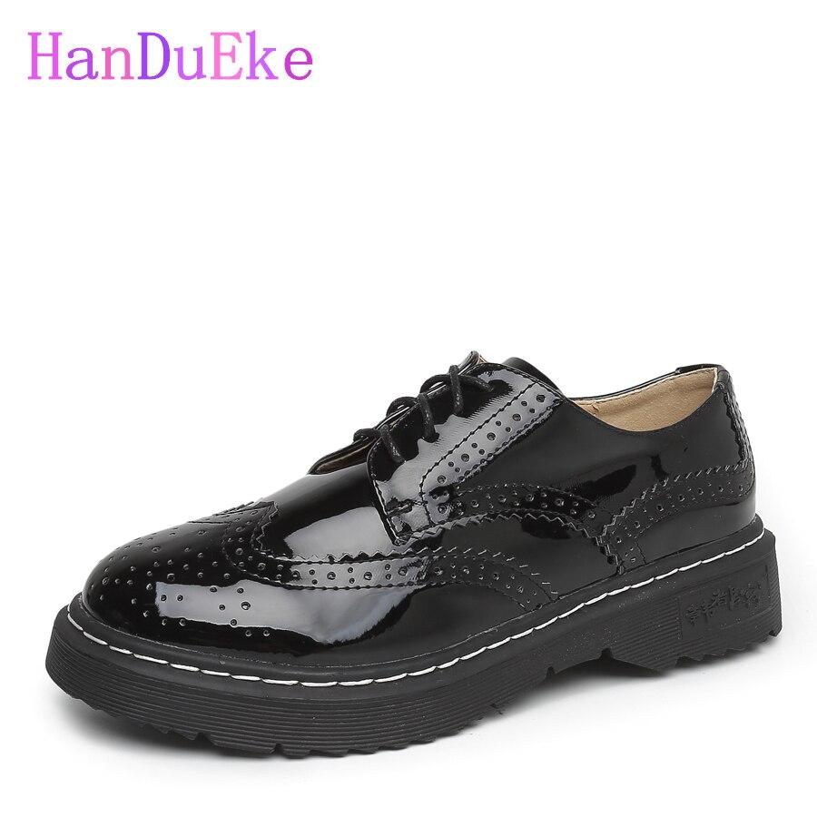 HanDuEKe Chunky Patent Leather Black Women Shoes Plus Size Round Toe Platform Pumps Shoes Low Heels Spring/Autumn Oxford Shoe<br>