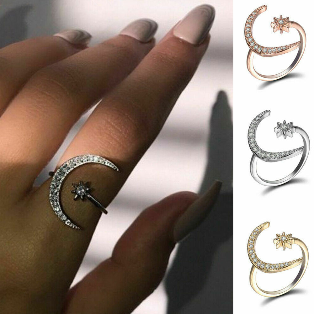 3 Colors Zircon Moon And Stars Silver Womens Adjustable Ring Jewelry NJ302-04