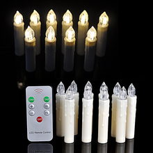 10Pcs/lot Warm White Party Wedding Christmas Birthday Candle Led Lights Flameless Lamps+Wireless Remote Control(China)