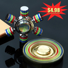 Buy DIY Rainbow Fidget Spinner Metal Finger Spinner JX-6 Hand Spinner Hand Brass Autism Adult Anti Relieve Stress Toy Spiner for $4.98 in AliExpress store