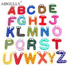 Super recommended 26pcs/set Wooden multicolor English letters alphabets  MagnetS baby early education letters