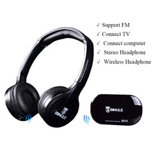 Bingle B616 Wireless headphone receiver support FM radio Multimedia devices Stereo Headset Headphones for TV computer Phone mp3(China)