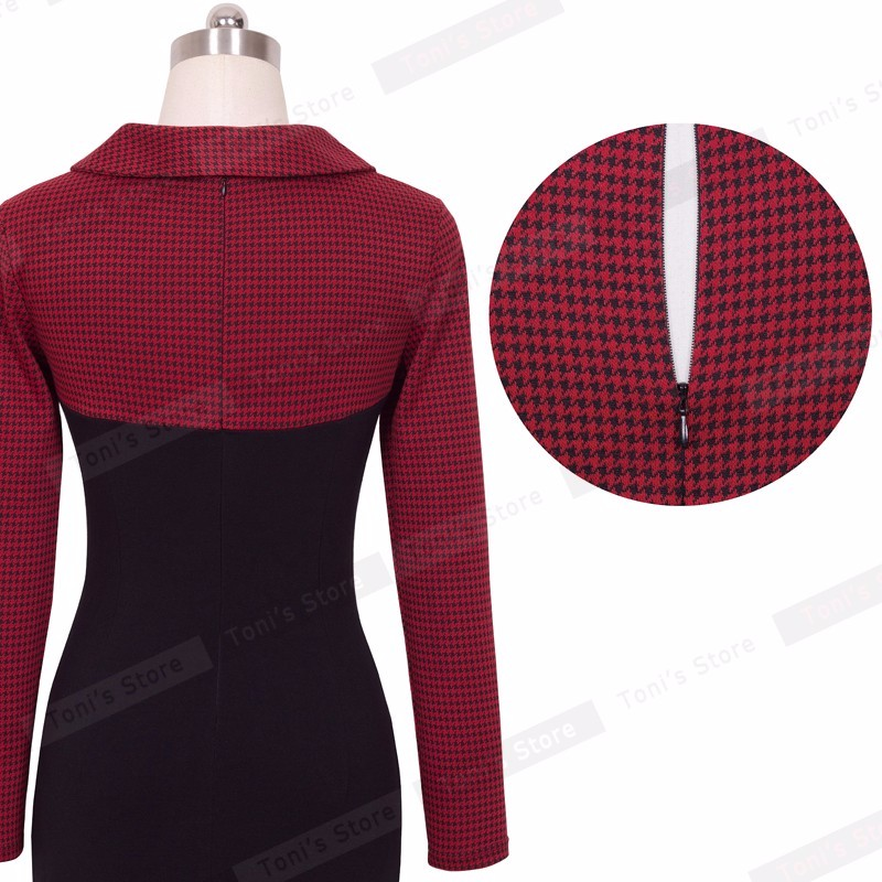 Nice-forever Elegant Vintage Fitted winter dress full Sleeve Patchwork Turn-down Collar Button Business Sheath Pencil Dress b238 31
