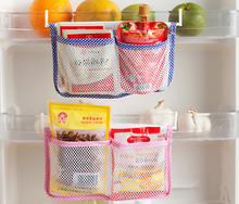 Storage Bag with 2 Hooks Food Organizer Refrigerator Modern Kitchen Hanging Fridge Storage Bag Save Space Storage Bags Blue Pink(China)