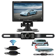 "Wireless Transmitter Car Rearview Monitor with License Plate Camera IR Night Vision Waterproof + 7"" TFT LCD Reverse System"