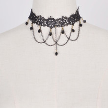 shunyun 30PCS Wholesale Women Chokers Black Lace Flower Chain Sexy Tassel Beads Pendant Short Collar Jewelry Crochet Necklace