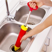 HOT Handle Powerful Suction Plunger Toilet Dredger Cleaner Drain Buster With Two Suckers For Sink Cleaning Tool(China)