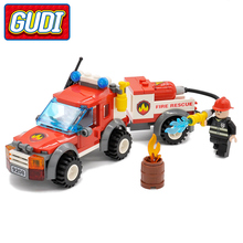 GUDI City Off Road Fire Rescue Blocks 122pcs Bricks Building Blocks Sets Educational Toys For Children