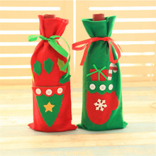 Christmas Wine Bottle Cover Pouch Gift Bag Xmas Eve Dinner Table Decoration - Darcy department store