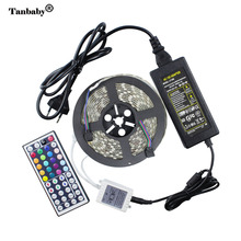 Tanbaby RGB Led Strip 5050 Waterproof flexible Rope + 44key RGB LED controller +12V 5A 60W Power adapter oudtoor lighting(China)