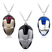 Buy Avengers Superhero Iron Man Mask Pendant Necklace Link Chain Necklace Men Boys personality Necklace collier Movie Jewelry for $1.51 in AliExpress store