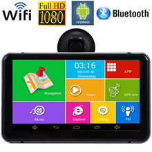 Android Car DVR GPS Navigator 7 Car GPS Navigation MTK Quad Core 512M 8G Bluetooth AV-IN Wifi 170 Degree Dash Cam FM Transmitter(China)