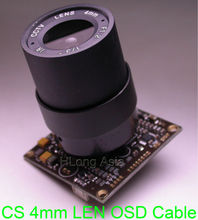 "EFFIO-A 1/3"" Sony ExView HAD CCD ICX672 ICX673 sensor CXD4151 CCTV camera module PCB board OSD cable + CS style LEN(China)"