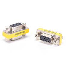 HOT 2pcs Female To Female VGA HD15 Pin Gender Changer Convertor Adapter MINI PC VGA Female Connector F/F Cable Extend Converter(China)