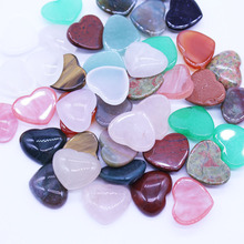 Wholesale Nature Stone Mixed cabochon 15*18MM heart shape Beads for jewelry making cab cabochon beads 50Pcs/lot Free shipping(China)