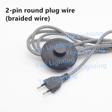 2pin electric power lamp power cord wire with foot switch Korea round plug for floor lamps, table lamps Lighting Accessories