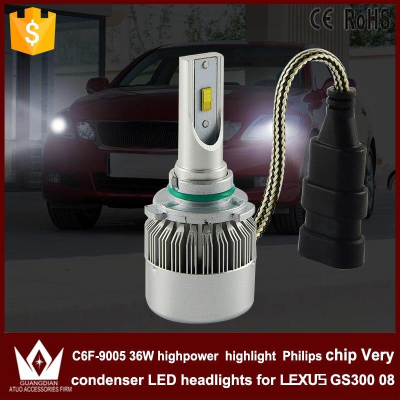 Guang Dian car led light HB3 Headlight Head lamp with mute fan 9005 High beam C6F 6000K white high power for L-e-xus GS300 2008<br><br>Aliexpress