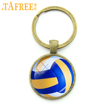 TAFREE Leisure beach volleyball key chain rings charm volleyball picture round glass alloy keychain ball fans gift jewelry KC255