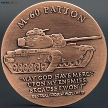 America Land Force M-60 Patton Tank Commemorative Coins Vintage Style With Round Box USA Military Weapon M60 Brass Coin 40mm(China)