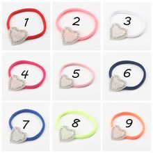 Free shipping, 20 pcs/lot , Sparkling Rhinestone Heart Nylon Headband, Crystal Heart Headband