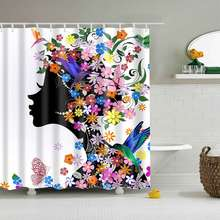 Urijk 1PC Print Flower Polyester Shower Curtain Home Decoration Waterproof Bathroom Accessories Modern Design Bath Curtain(China)