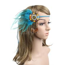 Vintage Bohemia Feather Headband Indian Hippie Braided Tassel Forehead Headpieces Headdress Woman Lady Hair Accessories