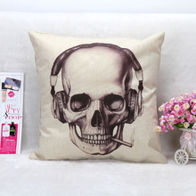 Hot Sale Cotton Linen Square Cushion Decorative Halloween Headset Skeleton Throw Pillow no filling 45cm*45cm