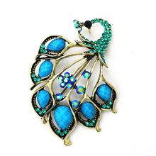 OneckOha Vintage Antique Gold Turquoise Peacock Brooch Pin Resin Brooches Jewelry Garment Decoration Accessories