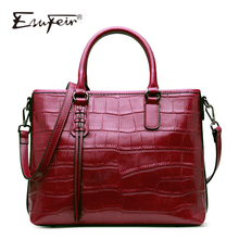 New ESUFEIR Genuine Leather Stone Pattern Women Handbag Famous Brand Design Messenger bag Fashion Tassel tote bags crossbody bag(China)