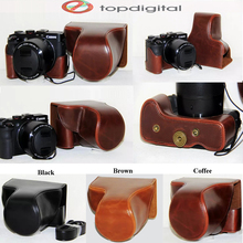 Luxury Vintage PU Leather Bag Case Cover for Canon Powershot G3X G3 X Screen Protective Cover with Shoulder Strap
