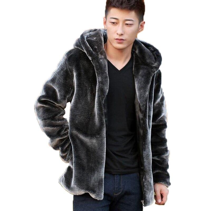 Fashion Mens Faux Fur Coats Faux Mink Coat Men Hoo...