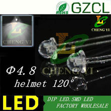 Aliexpress supplier White 4.8mm lamp bulb 6000-7000K helmet dip led 3.0-3.5V 20mA(Free shipping)(China)