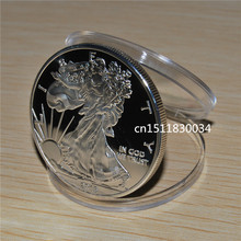 Free shipping 50pcs/lot ,2013 - 1 oz Silver American Eagle Coin,no magnetic,Copy Coin(China)